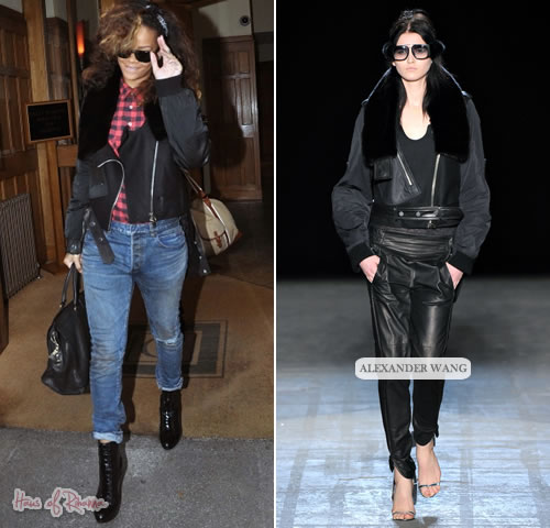 Rihanna in Alexander Wang jacket and Current/Elliott jeans