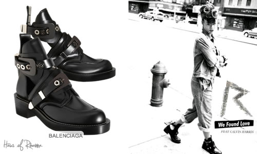 Rihanna in Balenciaga boots on We Found Love single cover