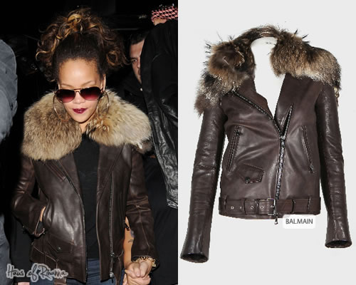 Rihanna in Balmain Motorcycle Jacket with Fur Collar
