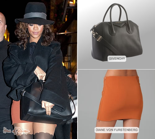 Rihanna in Paris in Diane von Furstenberg skirt and Givenchy bag