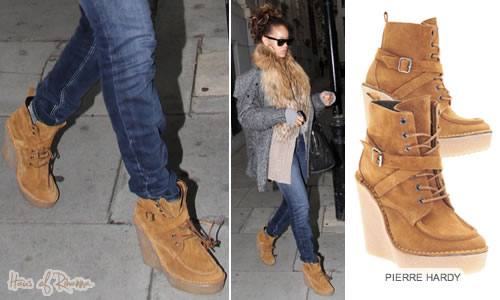 Rihanna in Pierre Hardy suede, lace-up ankle boots