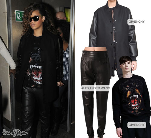 Rihanna in Givenchy rottweiler tee and Givenchy jacket
