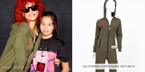 Rihanna in green jumpsuit by California Christiania Republic