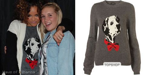 Rihanna in Topshop's knitted dalmatian motif sweater