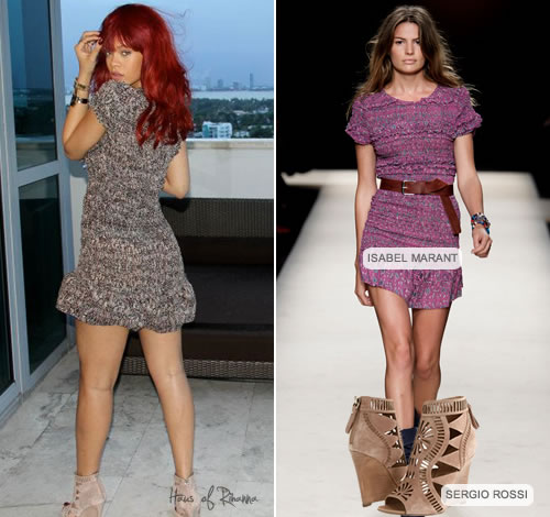 Rihanna in Isabel Marant dress and Sergio Rossi wedge heels