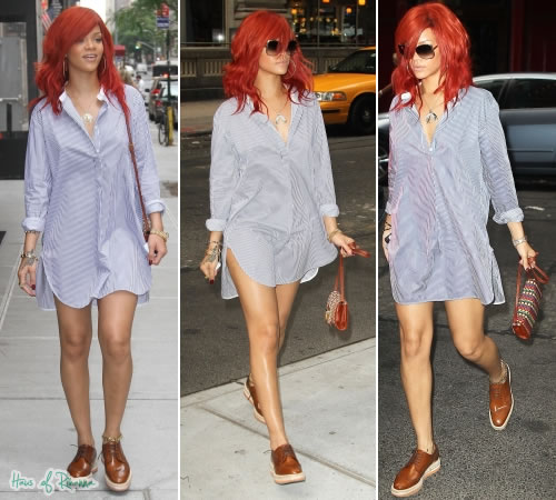 Rihanna in Prada Wing-Tip Platform Espadrille Oxfords