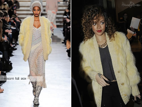 Rihanna in Missoni fur cardigan in Milan