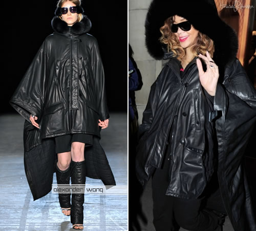 Rihanna in Alexander Wang Fox Fur Hood Leather Jacket