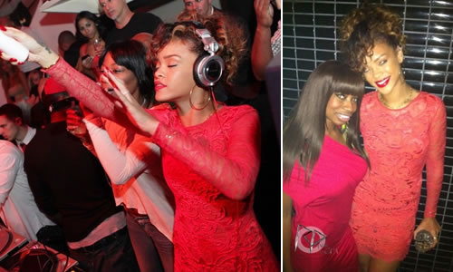 Rihanna in Matthew Williamson red lace dress