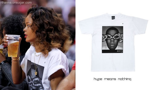 Rihanna in Hype Means Nothing Jay-Z t-shirt at basketball game
