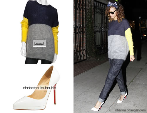Rihanna in Joseph colorblock sweater, Christian Louboutin pumps