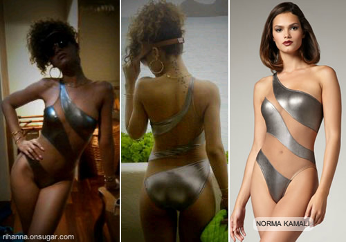 Rihanna in Norma Kamali swimsuit in Hawaii