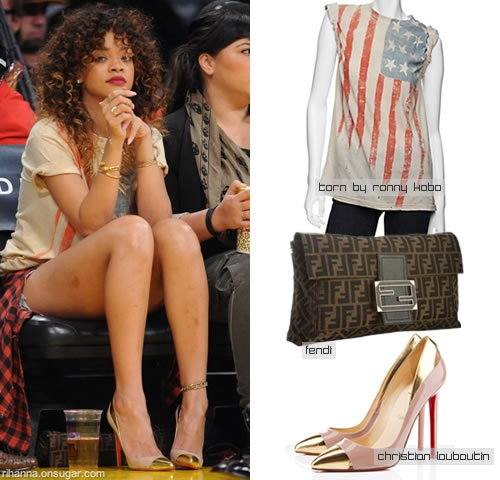 Rihanna in Torn by Ronny Kobo American Flag t-shirt