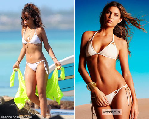 Rihanna in white bikini by Vitamin A