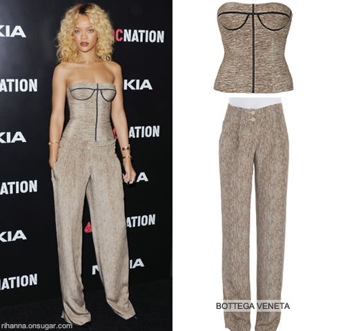 Rihanna in Bottega Veneta bustier and pants