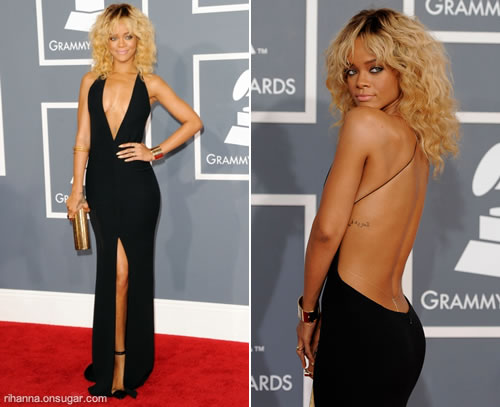 Rihanna in Giorgio Armani Black Dress at the Grammys