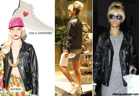 Rihanna in Joyrich motorcycle jacket with dollar signs, Comme des Garcons Play Converse sneakers