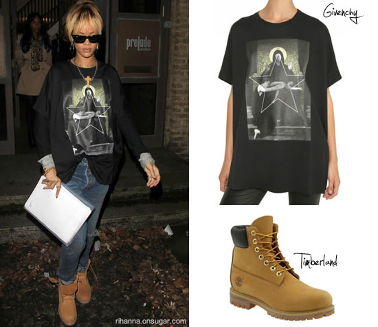 Rihanna in Givenchy t-shirt and Timberland boots