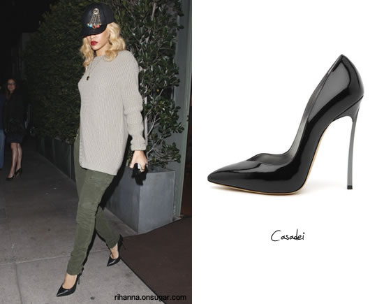 Rihanna in Casadei blade stiletto pumps