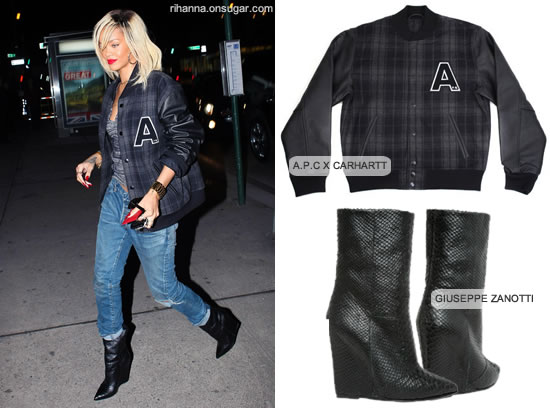 Rihanna in Giuseppe Zanotti wedge boots and A.P.C varsity jacket