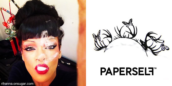 Rihanna wearing Paperself lashes in Princess of China