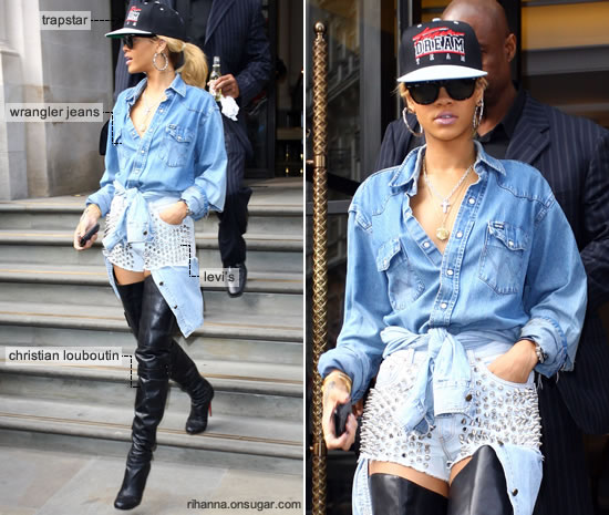ihanna in spiked shorts, Louboutin boots, Trapstar hat