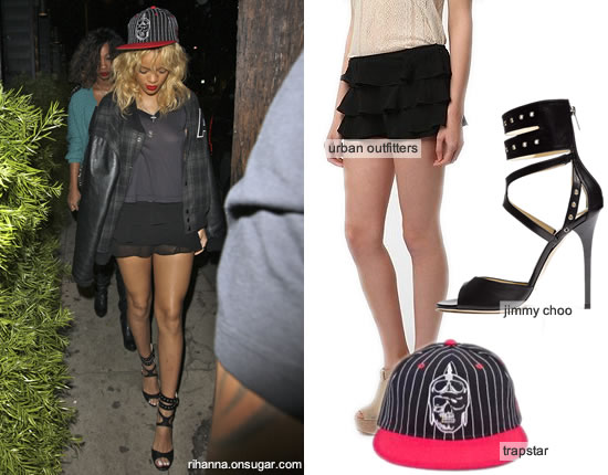 Rihanna in Trapstar hat and Jimmy Choo heels