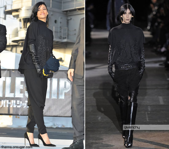 Rihanna wearing Givenchy sweater and gloves in Yokosuka, Japan