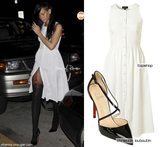 Rihanna in white Topshop dress and Pretty Polly suspender tights