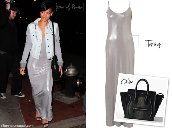 Rihanna in silver Topshop maxi dress and Celine mini luggage bag