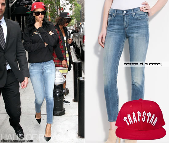 Rihanna in red Trapstar snapback and Citizens of Humanity jeans
