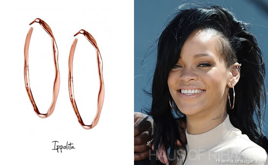 Rihanna in Ippolita Squiggle hoop earrings in Hawaii