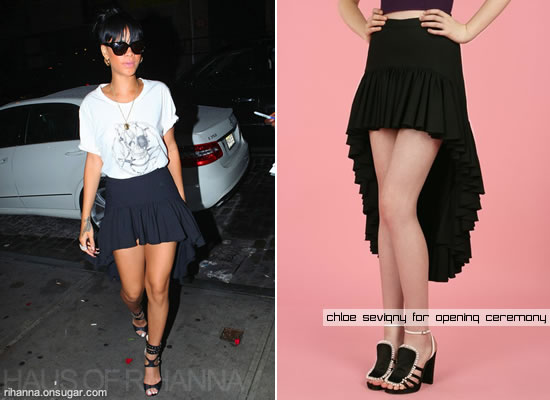 Rihanna in black ruffle skirt by Chloe Sevigny for Opening Ceremony
