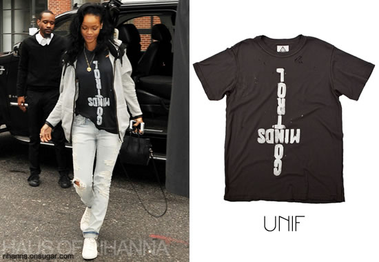 Rihanna wearing UNIF Control Minds shirt