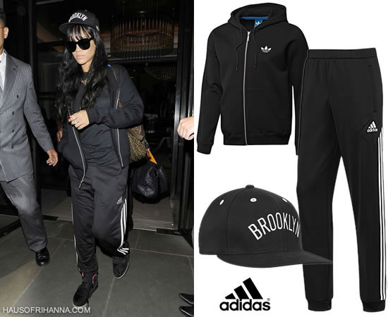 Rihanna in Adidas hoodie and pants, Nike Air Yeezy II and Brooklyn Nets fitted cap