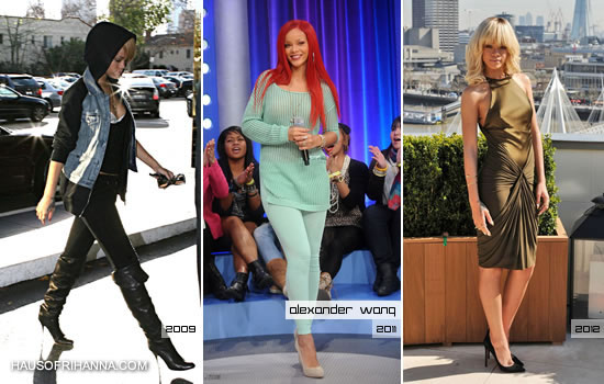 Rihanna wearing Alexander Wang in 2009, 2011 and 2012