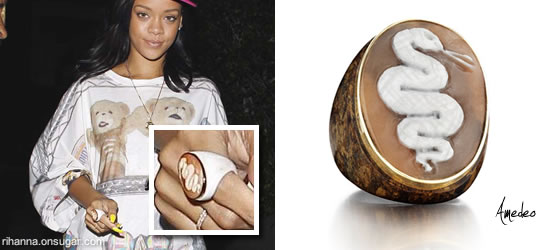 Rihanna wearing a white snake cameo ring by Amedeo