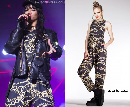 Rihanna at Kollen Festival in Norway wearing Aqua by Aqua chain print jumpsuit