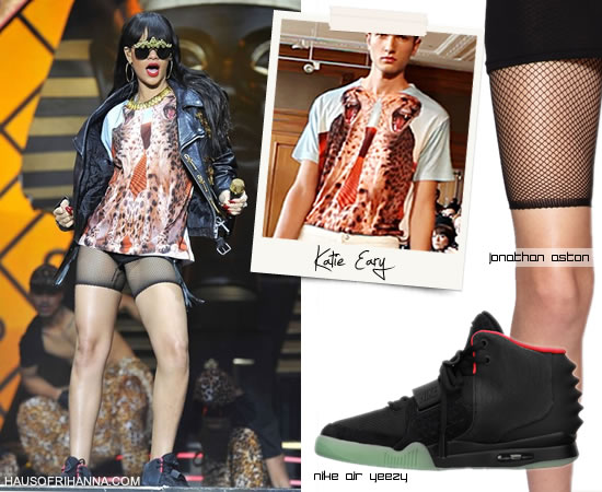 Rihanna at Hackney Weekend in Katie Eary cheetah t-shirt, Air Yeezy  II, and Jonathan Aston fishnet shorts