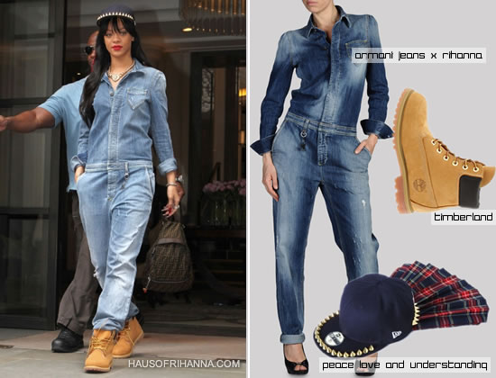 Rihanna in Armani Jeans denim jumpsuit, Timberland boots and Peace, Love and Understanding plaid spike hat