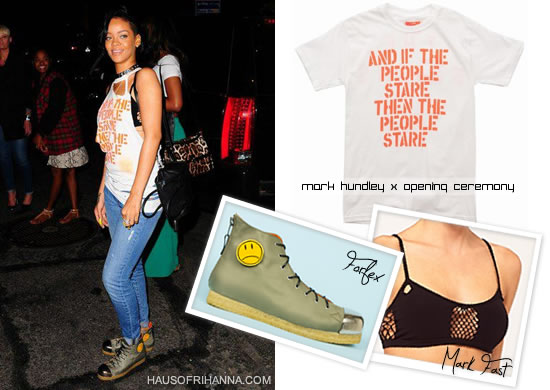 Rihanna in Mark Hundley t-shirt, Forfex boots and Mark Fast bra