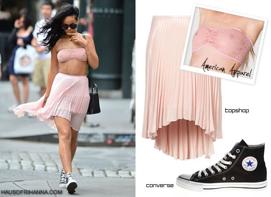 Rihanna in Topshop skirt, American Apparel lace tube bra, Converse high top