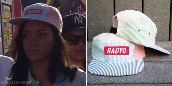 Rihanna in Radyo striped snapback