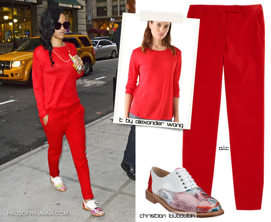 Rihanna in Christian Louboutin Havana Trash oxfords, red A.L.C pant, T by Alexander Wang sweater, Karen Walker Super Duper Strength sunglasses