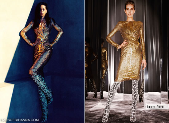 Rihanna in Harper's Bazaar, August 2012 wearing a gold sequin dress and snakeskin boots from Tom Ford Fall 2012