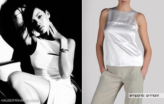 Rihanna in Harper's Bazaar, August 2012 wearing a white Emporio Armani top with a white Donna Karan skirt