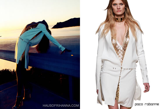 """Rihanna in Harper's Bazaar, August 2012 wearing a gold and white dress from Paco Rabanne Fall 2012"