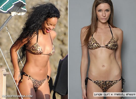 Rihanna in France in Jungle Gurl leopard bikini