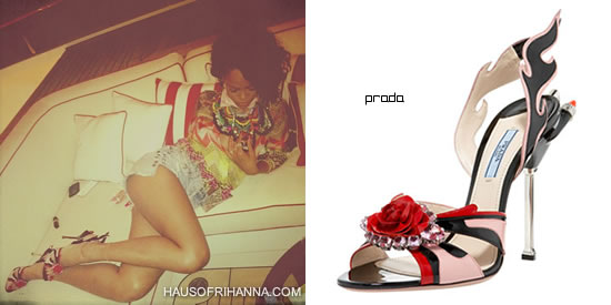 Rihanna In Prada Jewel-Toe Flame Sandal