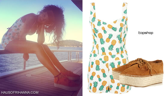 Rihanna In Topshop Pineapple Print Playsuit And KLIVE flatform espadrilles